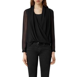 AllSaints Abi Black Silk Wrap Blouse